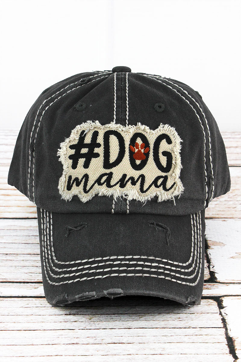 Distressed Black '#Dog Mama' Cap