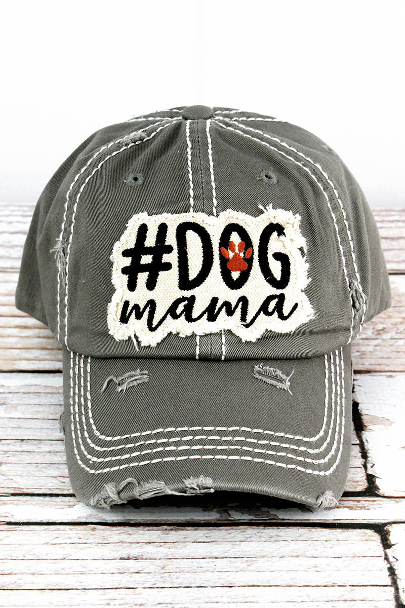 Distressed Steel Gray '#Dog Mama' Cap