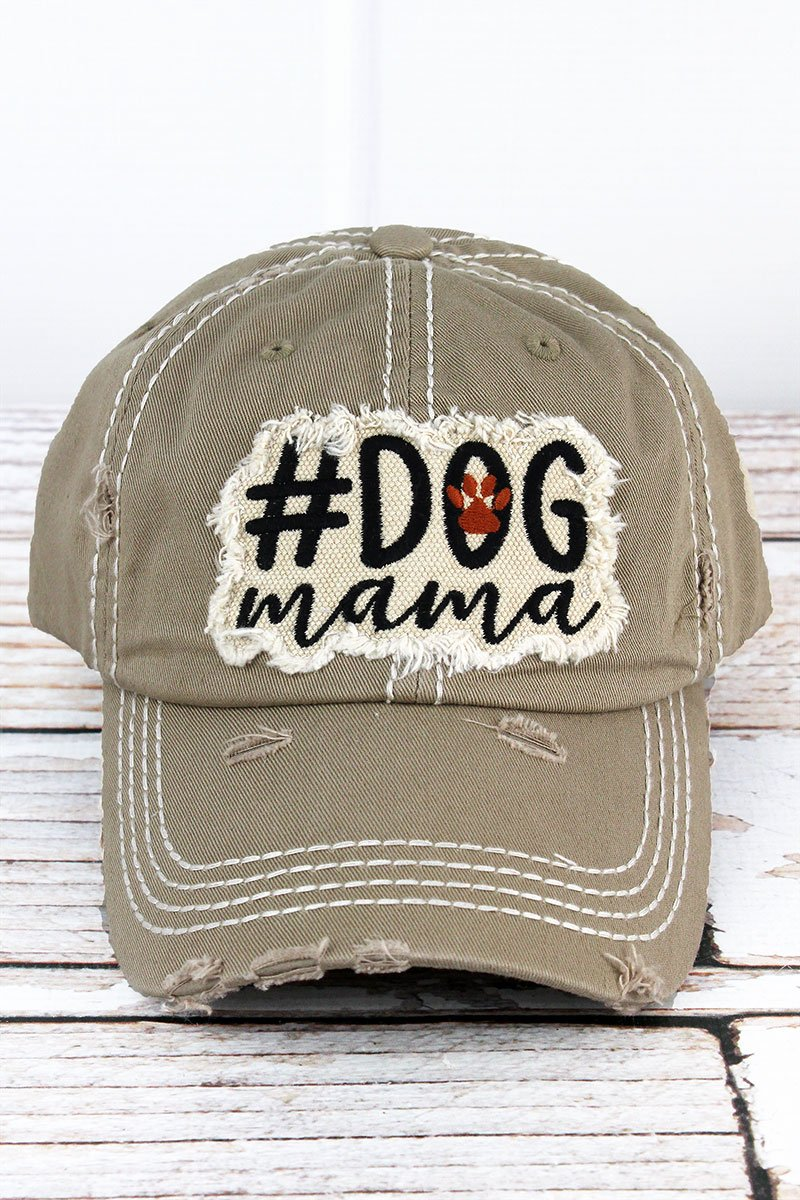 Distressed Khaki '#Dog Mama' Cap
