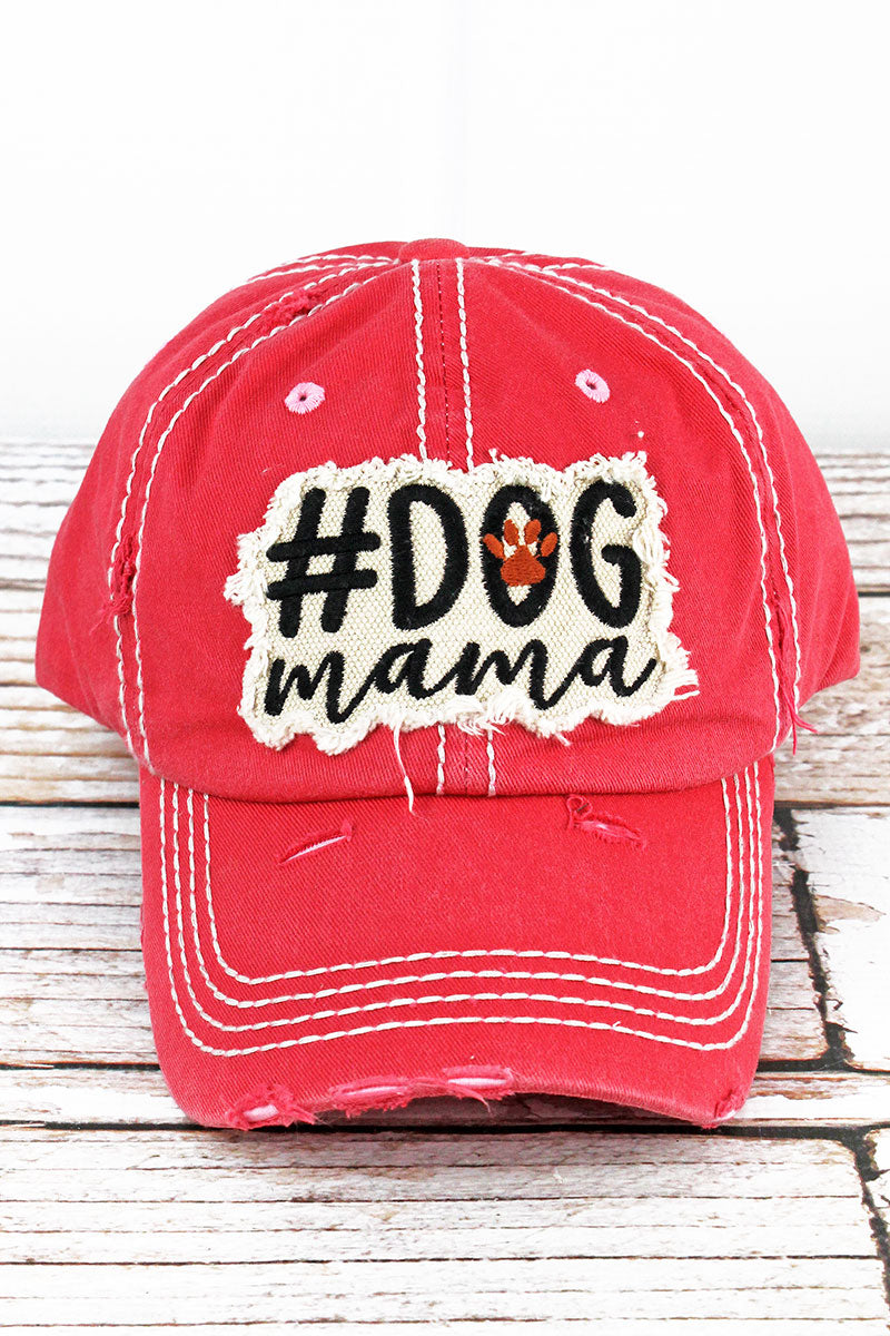Distressed Salmon '#Dog Mama' Cap