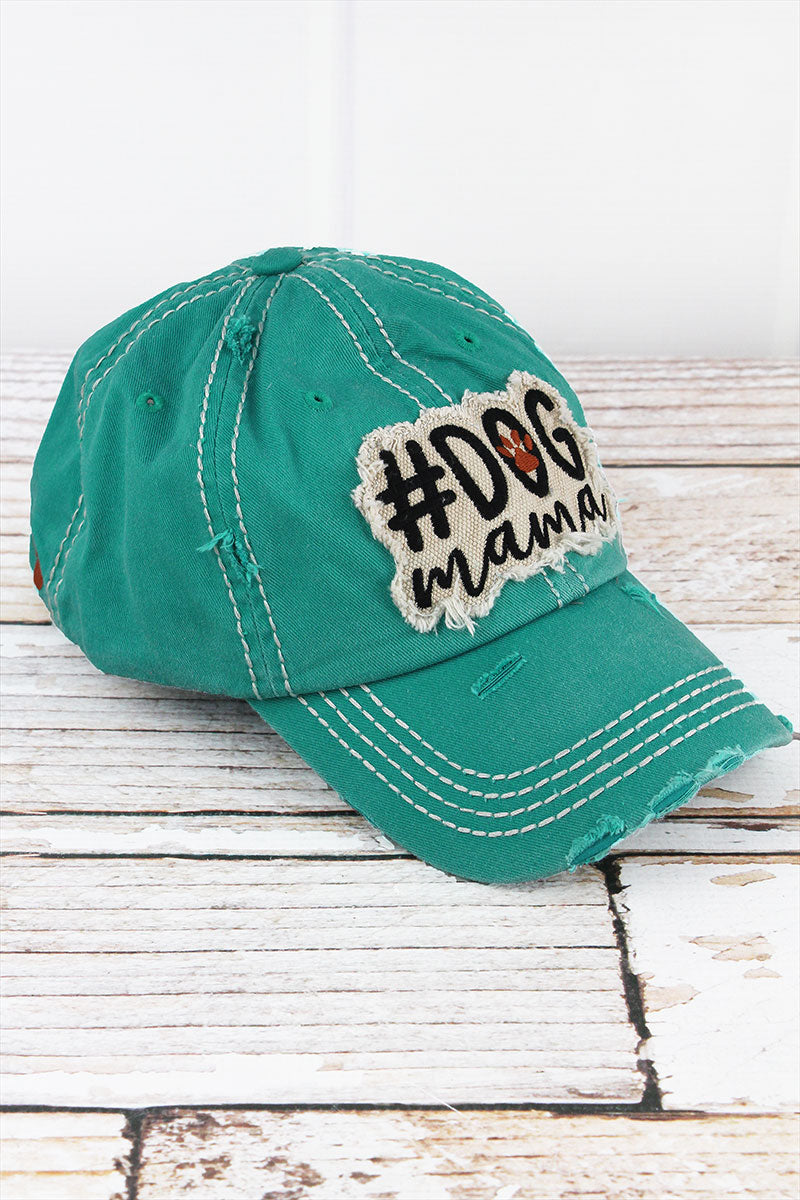 Distressed Turquoise '#Dog Mama' Cap