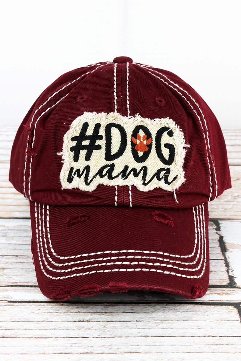 Distressed Burgundy '#Dog Mama' Cap