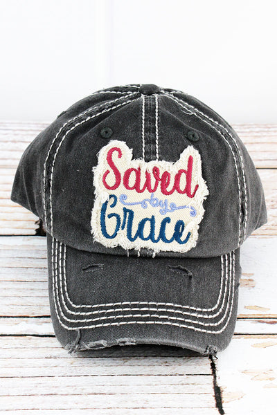 Distressed Black 'Saved By Grace' Cap
