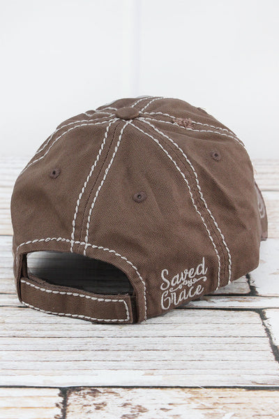 Distressed Mocha 'Saved By Grace' Cap