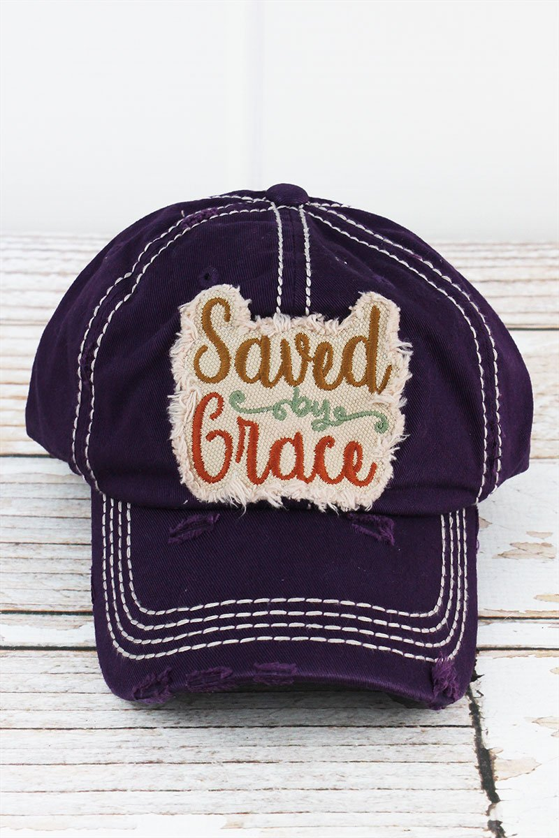 Distressed Purple 'Saved By Grace' Cap