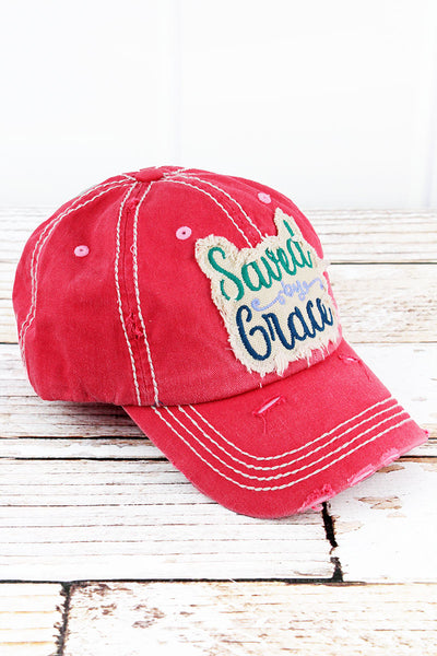 Distressed Salmon 'Saved By Grace' Cap