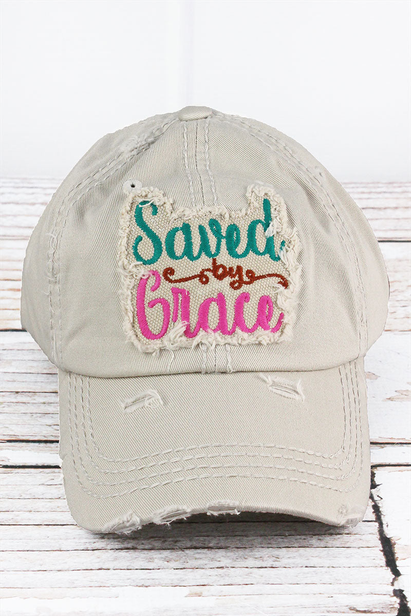 Distressed Stone 'Saved By Grace' Cap
