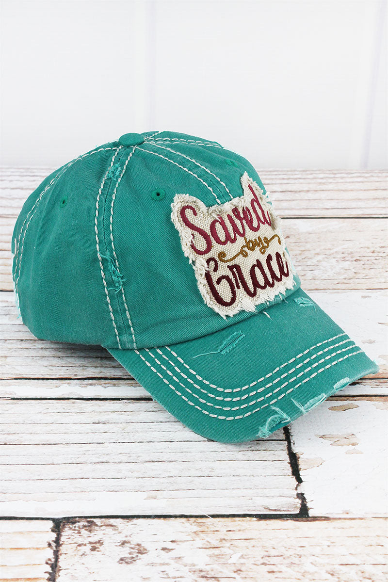Distressed Turquoise 'Saved By Grace' Cap
