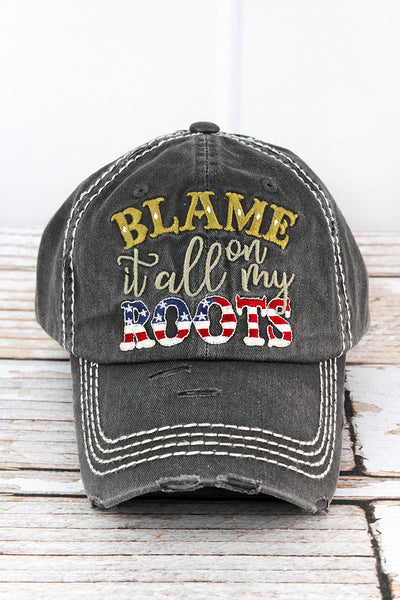 Distressed Black 'Blame It All On My Roots' Cap