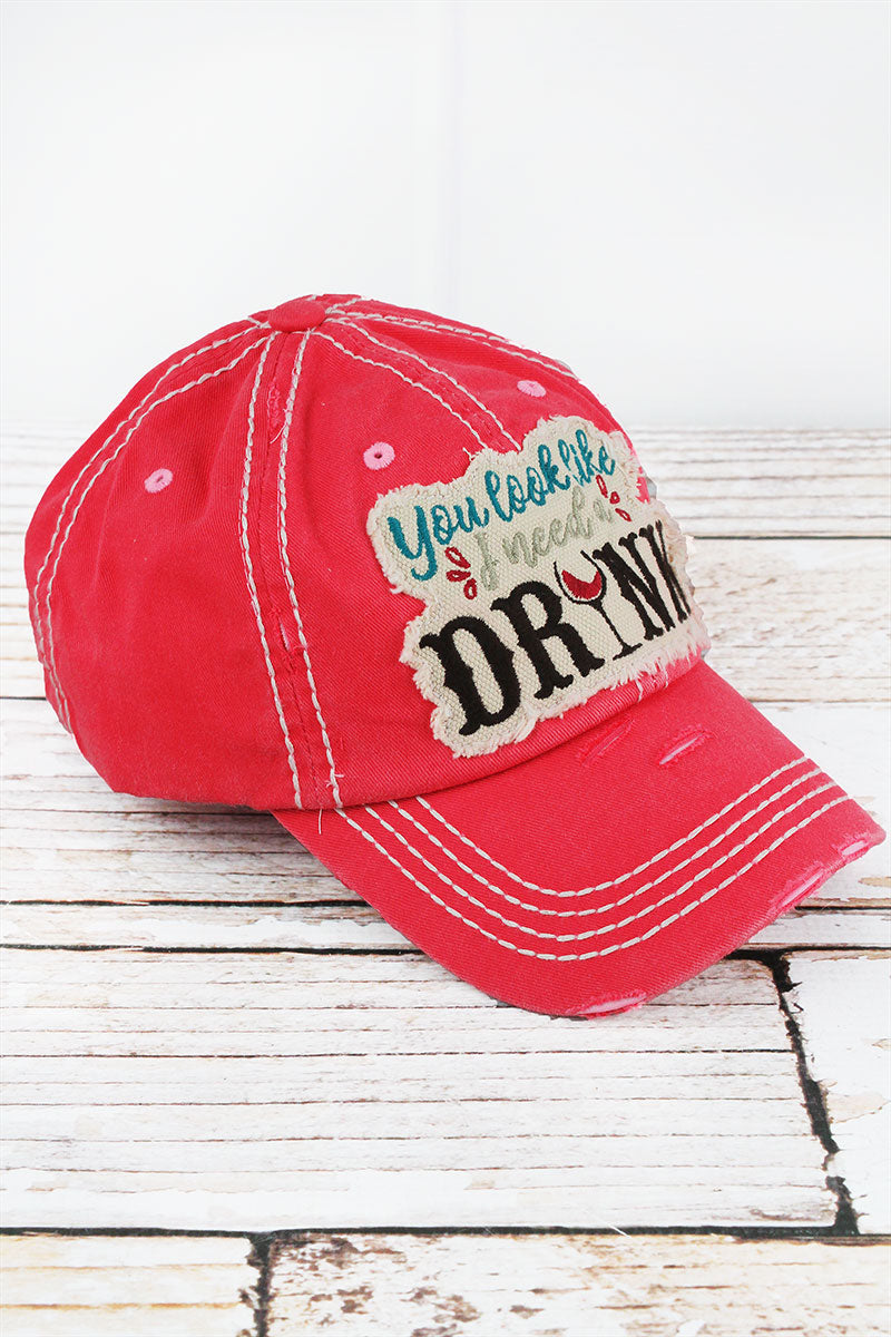 Distressed Salmon 'You Look Like I Need A Drink' Cap