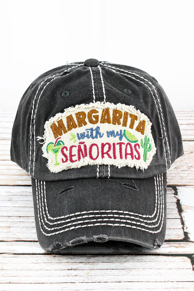 Distressed Black 'Margarita With My Senoritas' Cap