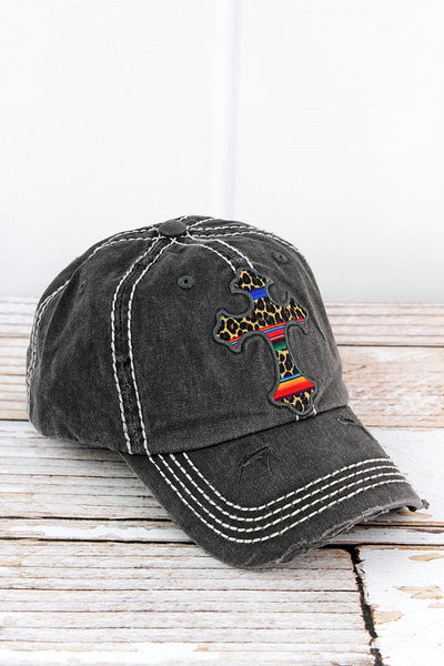 Distressed Black with Leopard Serape Cross Cap