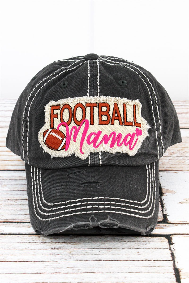 Distressed Black 'Football Mama' Cap