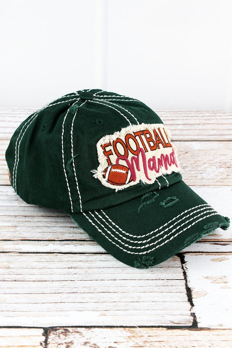 Distressed Pine Green 'Football Mama' Cap