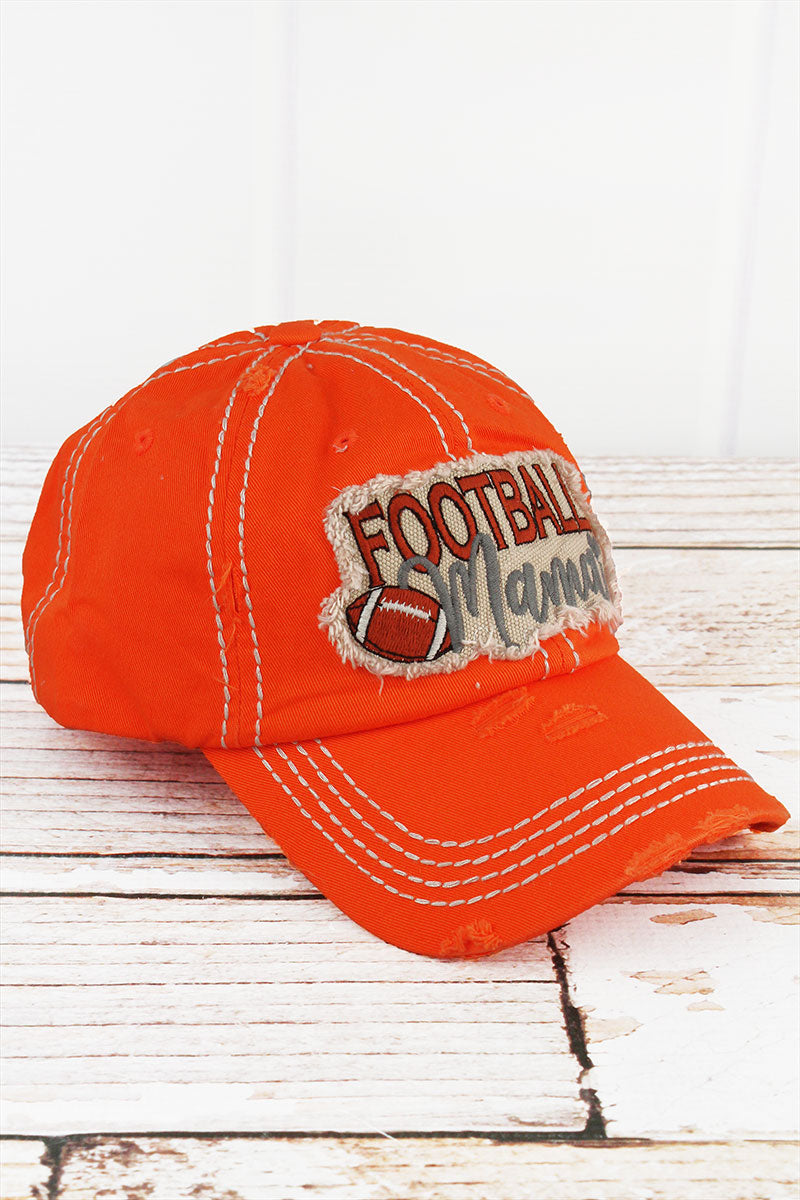 Distressed Orange 'Football Mama' Cap