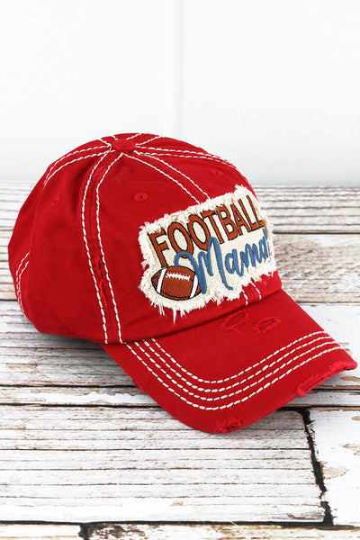 Distressed Red 'Football Mama' Cap