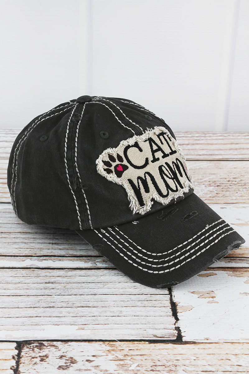 Distressed Black 'Cat Mom' Cap