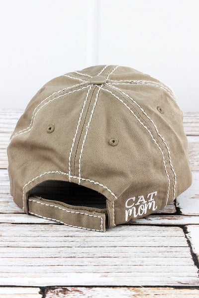 Distressed Khaki 'Cat Mom' Cap