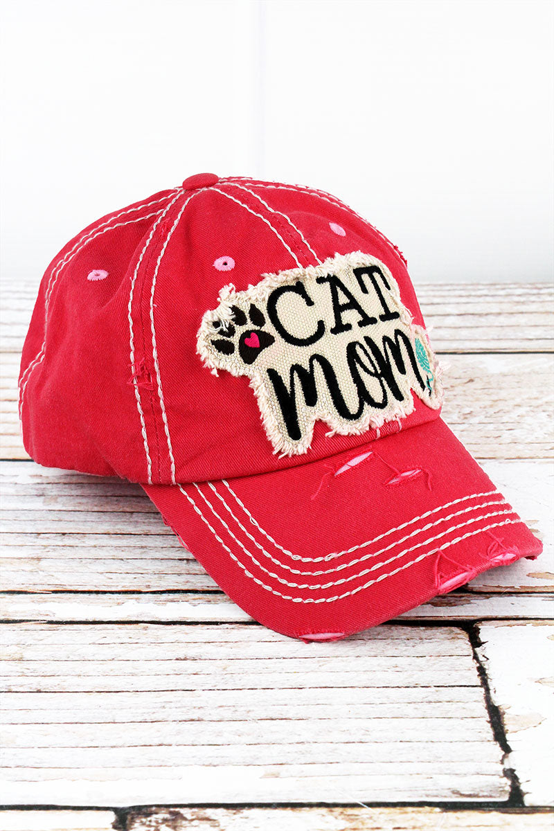 Distressed Salmon 'Cat Mom' Cap