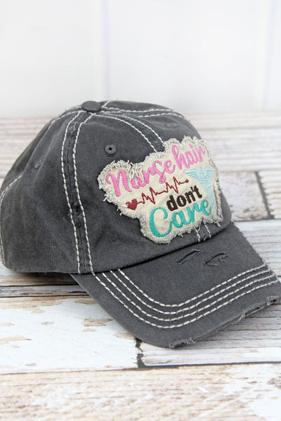 Distressed Black 'Nurse Hair Don't Care' Cap