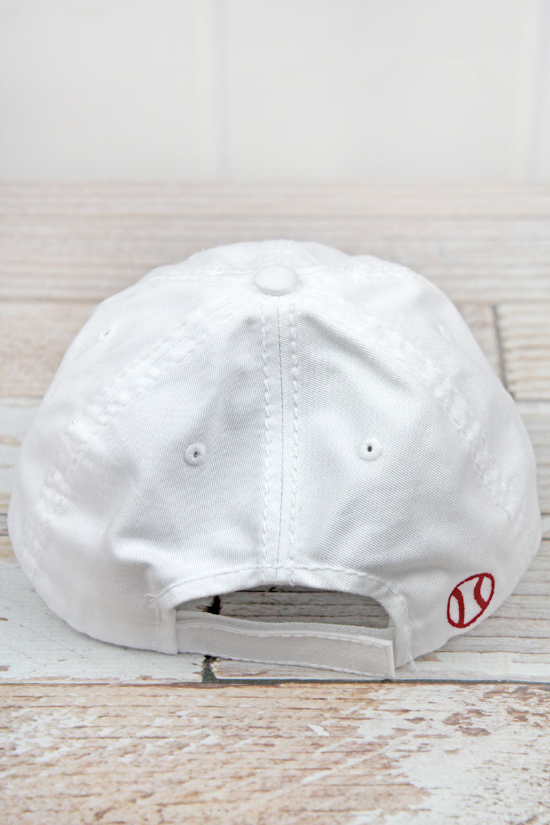 Distressed White 'Softball' Cap