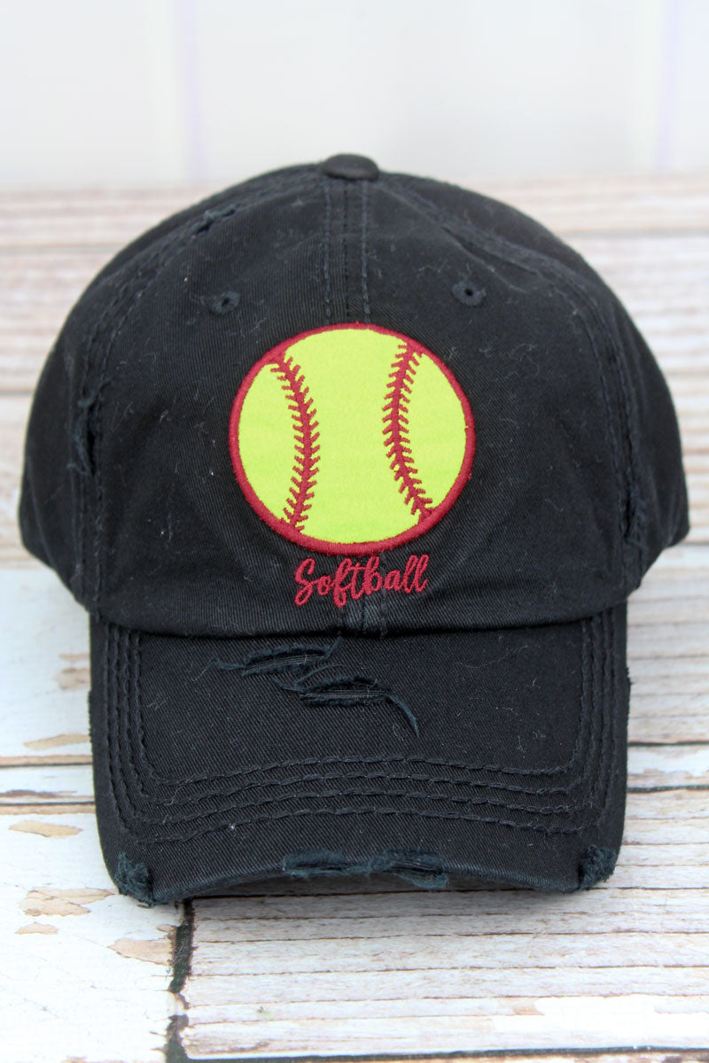 Distressed Black 'Softball' Cap