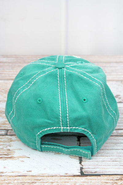 Distressed Turquoise 'Mommy Shark' Cap