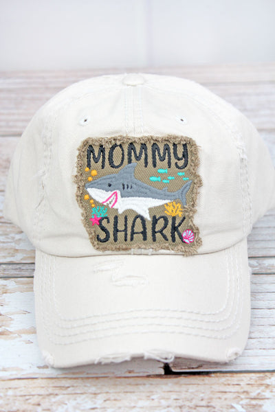 Distressed Stone 'Mommy Shark' Cap