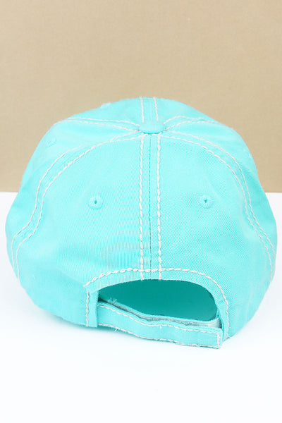 Distressed Mint Blue 'Mamacita Needs A Margarita' Cap
