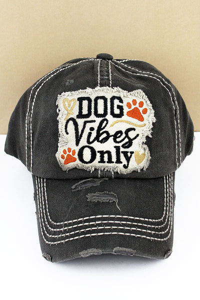 Distressed Black 'Dog Vibes Only' Cap
