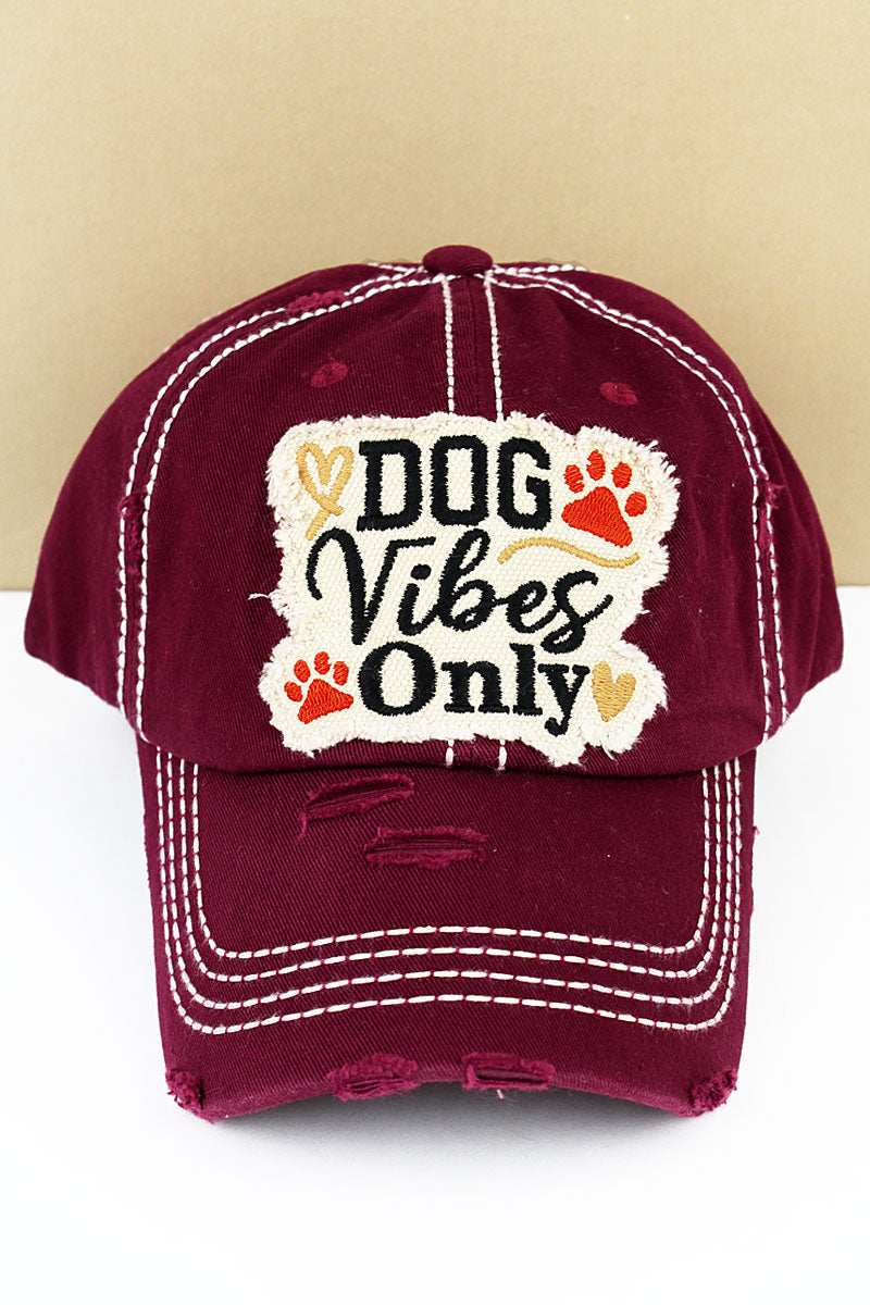 Distressed Burgundy 'Dog Vibes Only' Cap