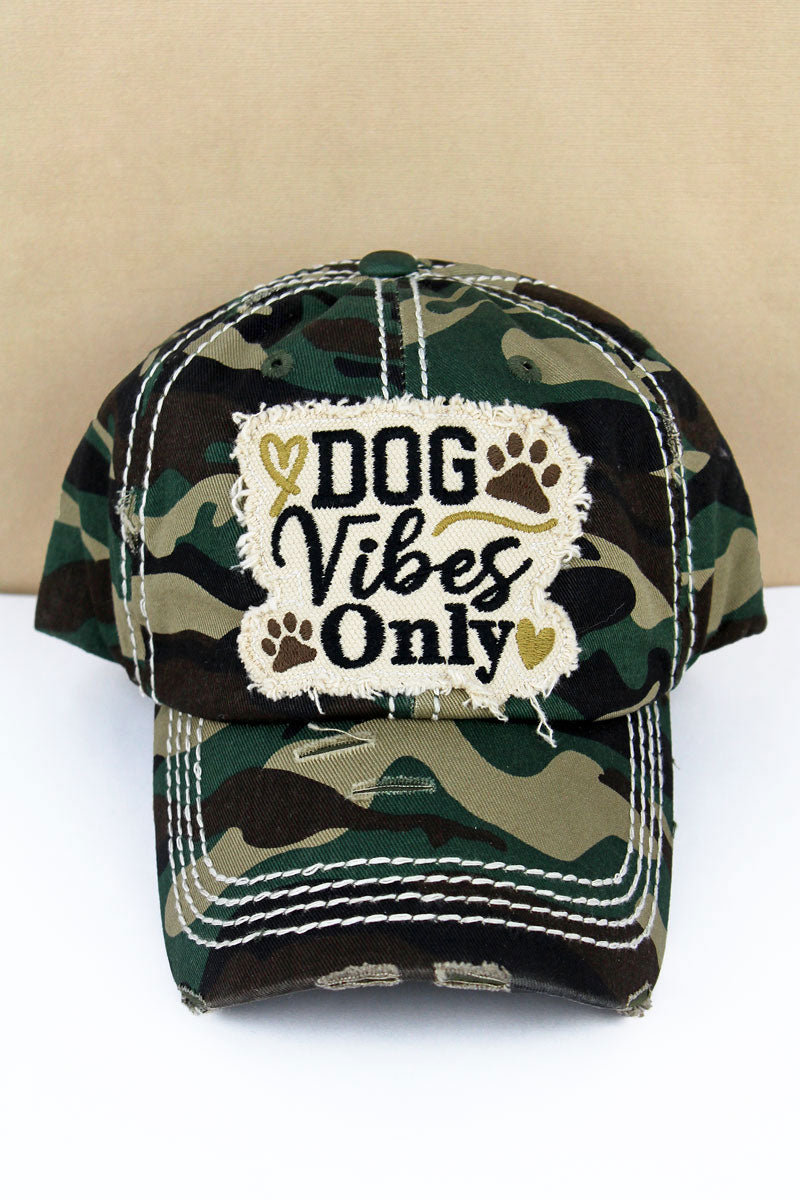 Distressed Camo 'Dog Vibes Only' Cap