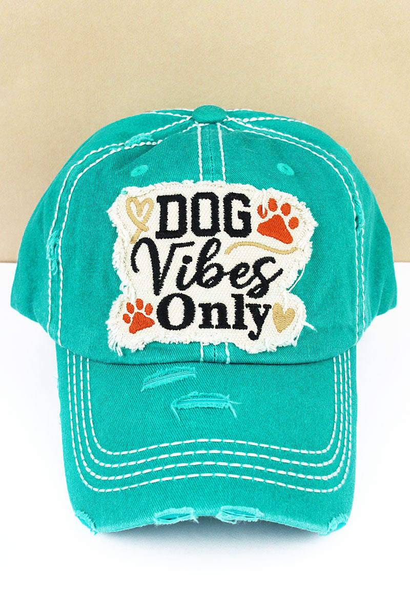 Distressed Turquoise 'Dog Vibes Only' Cap