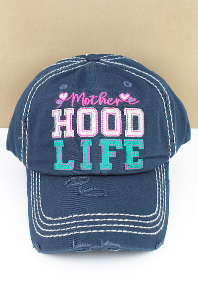 Distressed Blue 'Mother Hood Life' Cap