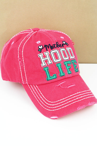 SALE! Distressed Salmon 'Mother Hood Life' Cap