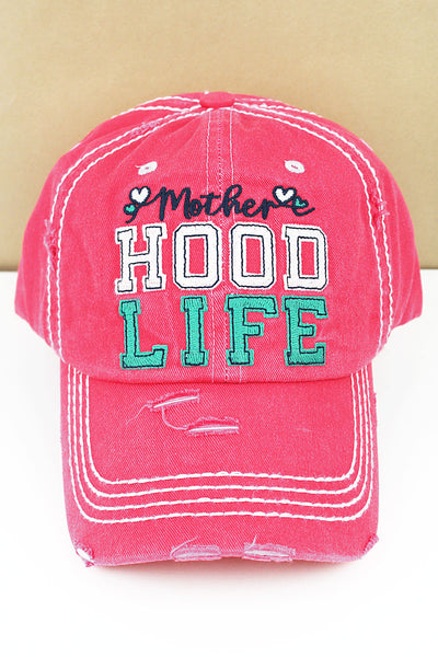 Distressed Salmon 'Mother Hood Life' Cap