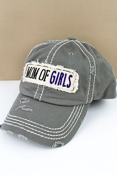 Distressed Steel Gray 'Mom Of Girls' Cap