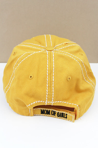 Distressed Yellow 'Mom Of Girls' Cap