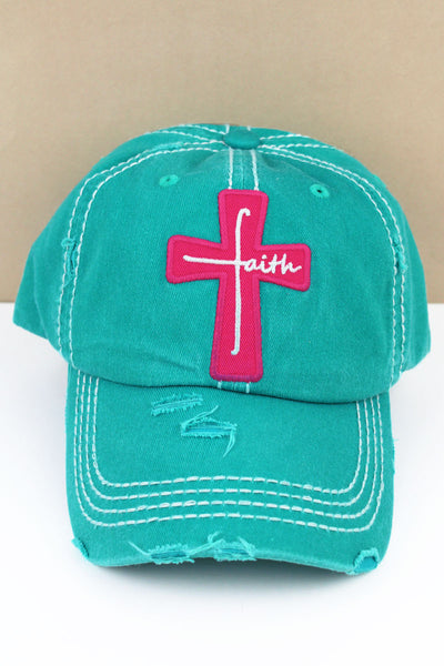 Distressed Turquoise 'Faith' Cross Cap
