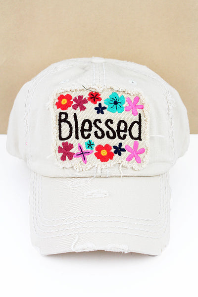 Distressed Stone 'Blessed' Floral Cap