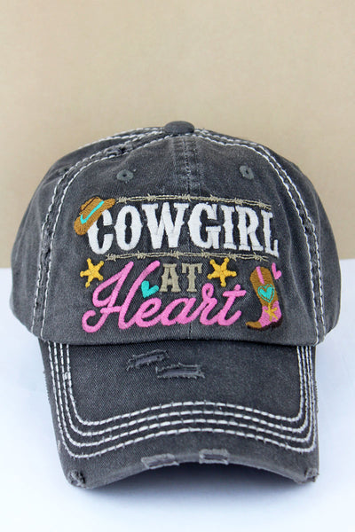 Distressed Black 'Cowgirl At Heart' Cap