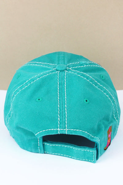 Distressed Turquoise 'Cowgirl At Heart' Cap