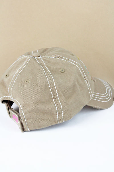 Distressed Khaki 'I Run This Rodeo #Momlife' Cap