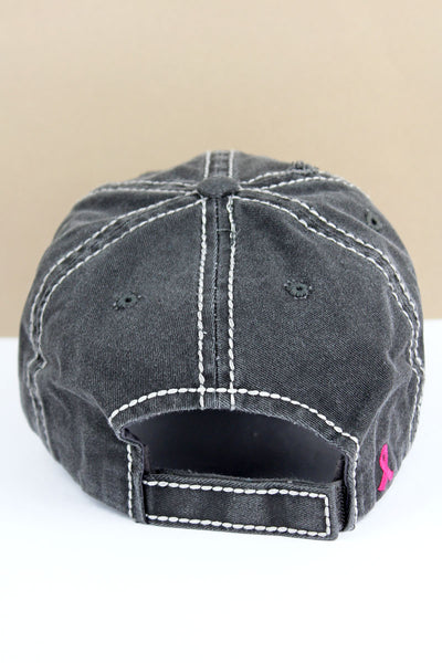 Distressed Black with Pink Ribbon Flag Cap