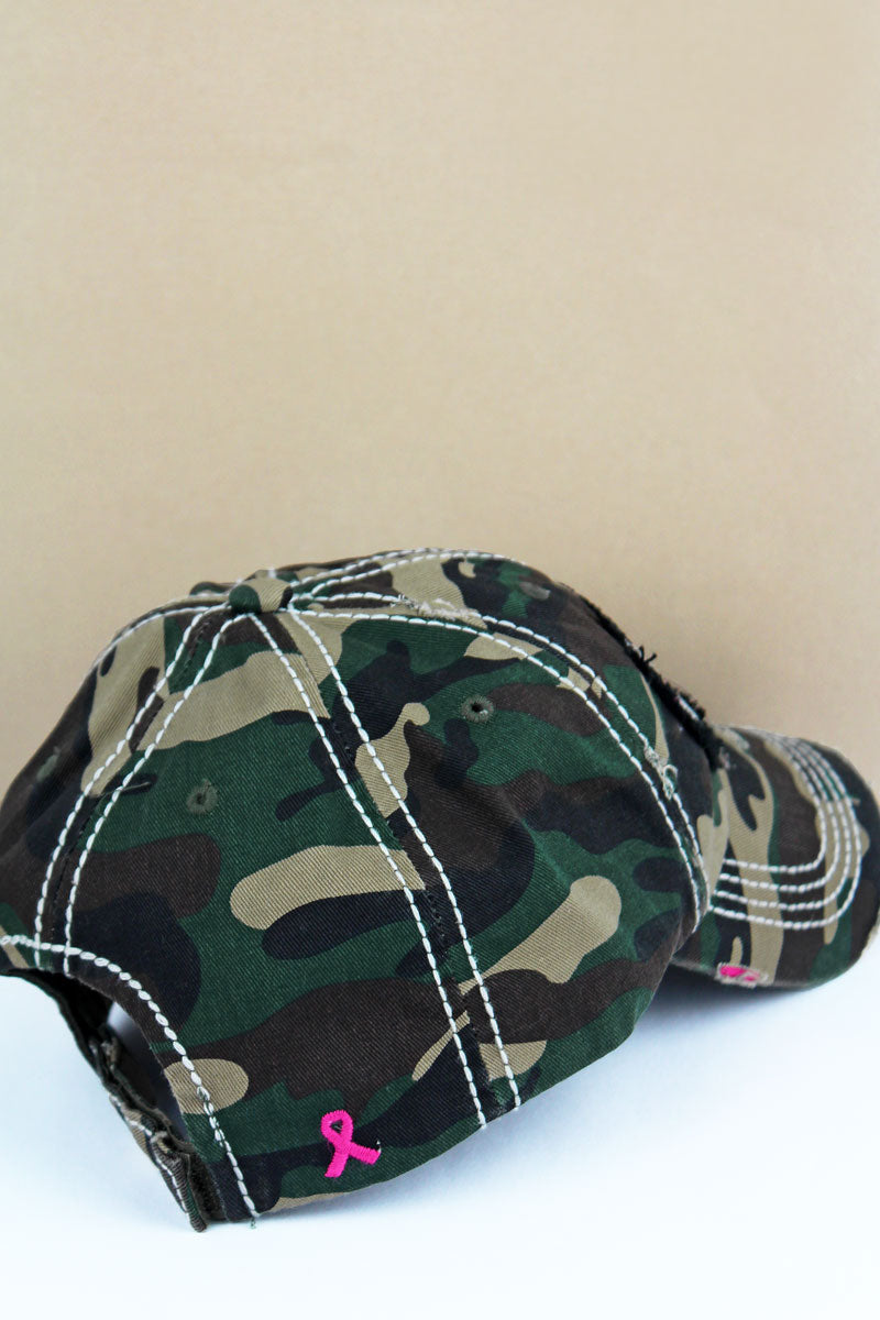 Distressed Camo with Pink Ribbon Flag Cap