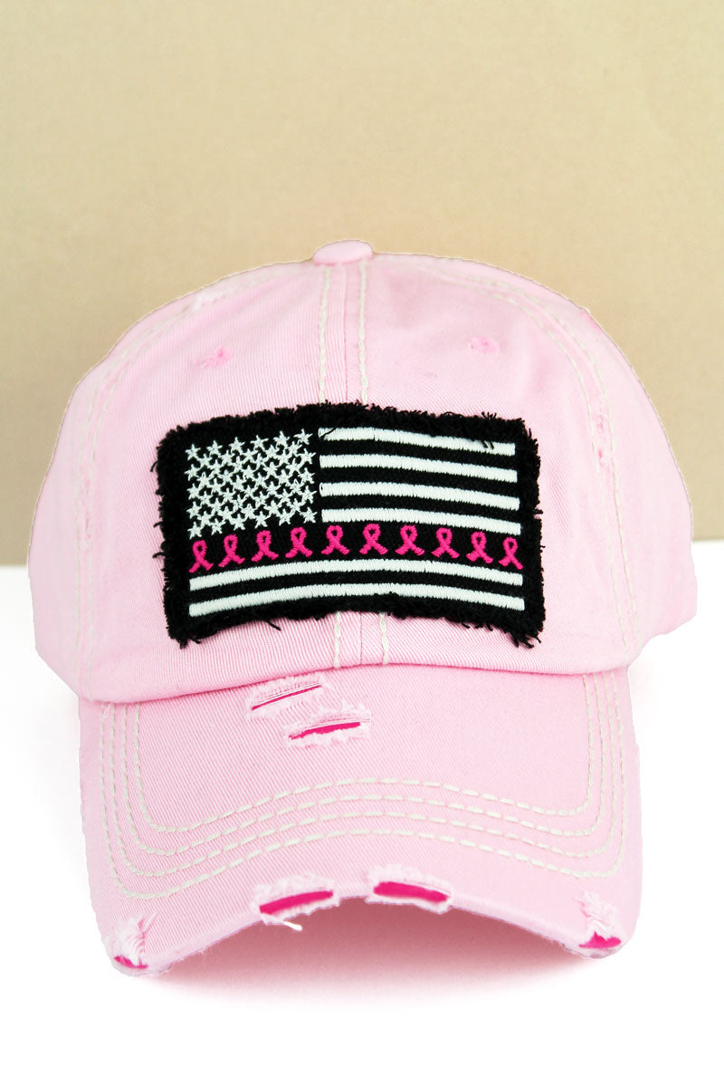 Distressed Pink with Pink Ribbon Flag Cap