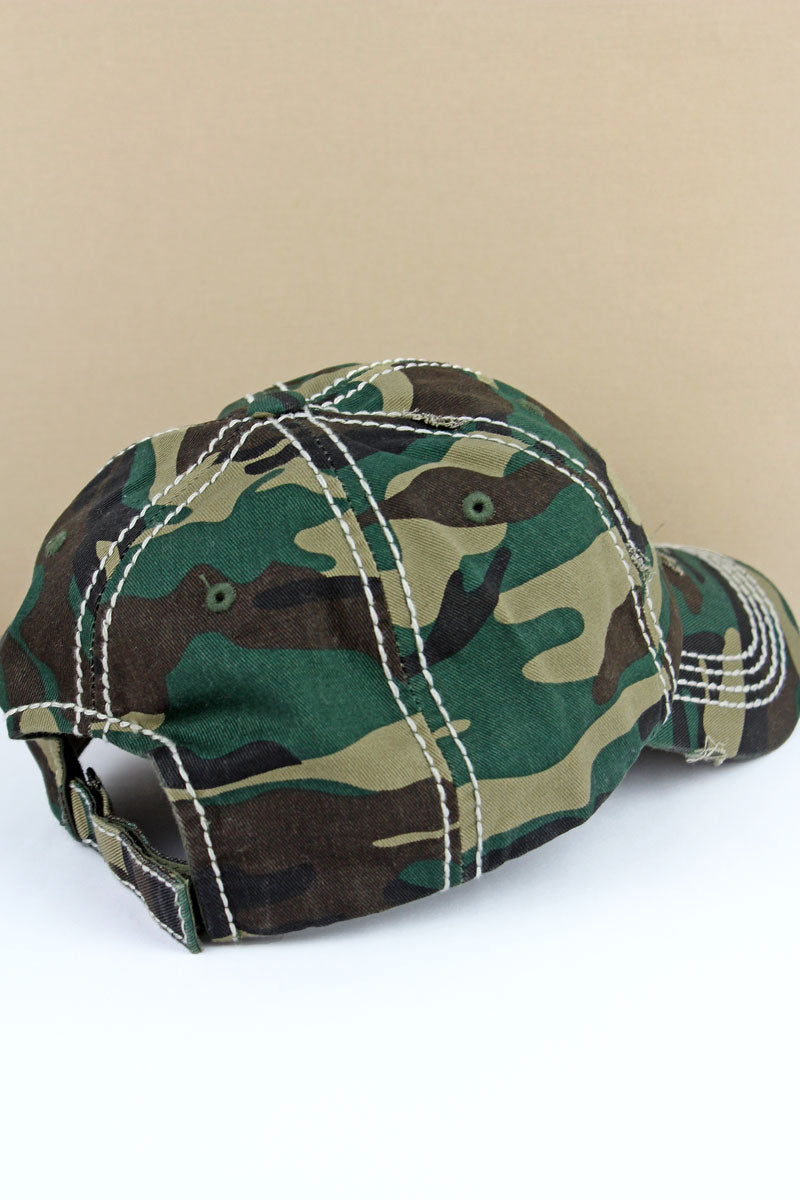 Distressed Camo Leopard Flag Cap