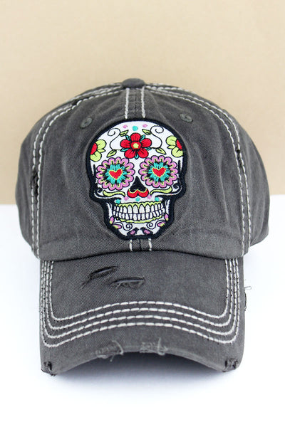 Distressed Black Floral Sugar Skull Cap