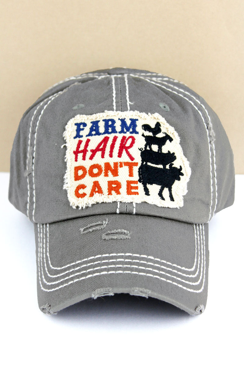 Distressed Steel Gray 'Farm Hair Don't Care' Cap