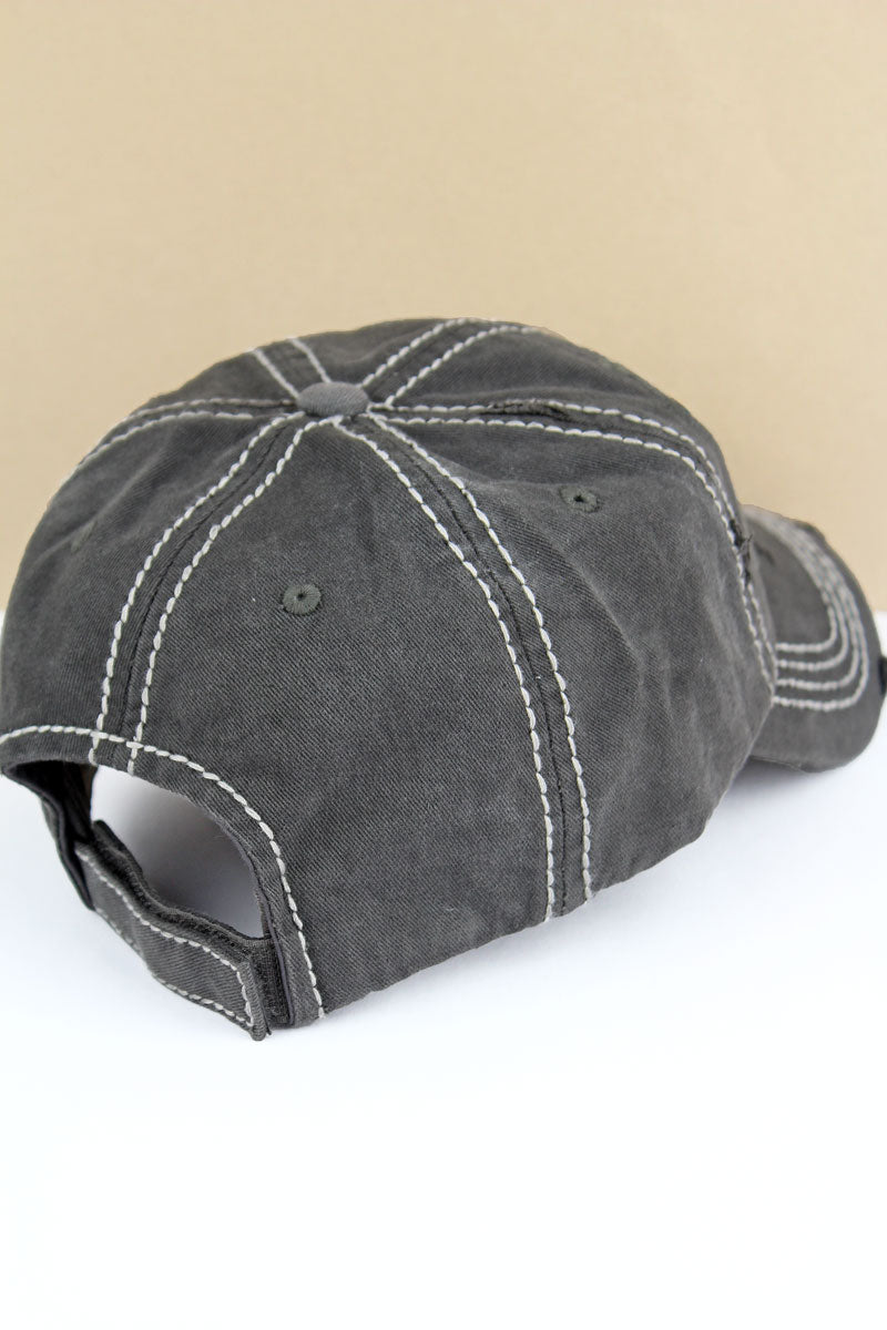 Distressed Black 'Sweet Southern & Sassy' Cap